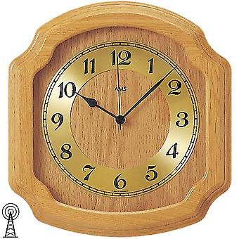 modern rustic radio controlled wall clock wall clock radio solid wood oak bright mineral glass