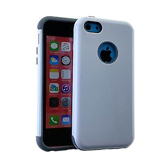 MYVI Series Slim Hybrid Protector Case for Apple iPhone 5 / 5S (Grey Skin and White Snap)