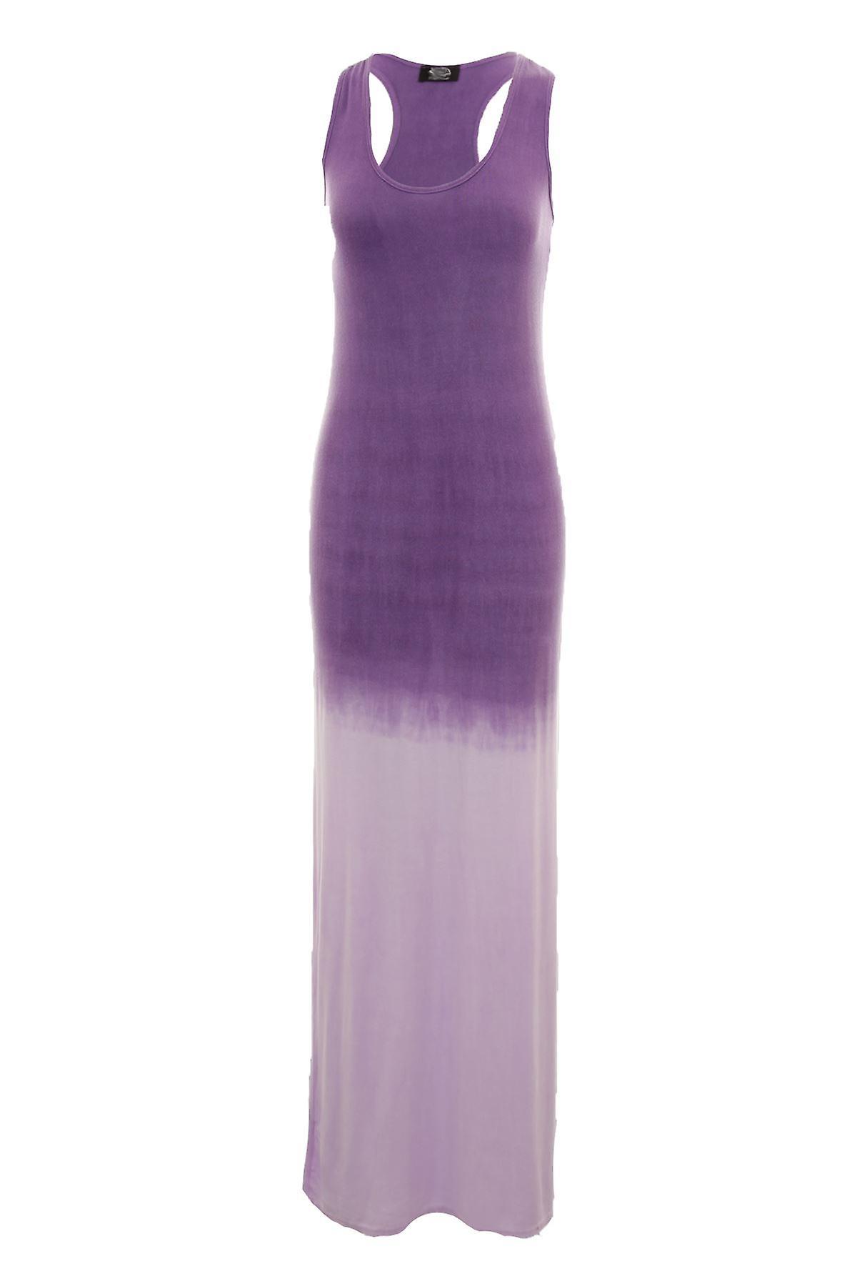 Ladies Sleeveless Round Neck Maxi Dip Dye Long Women's Dress