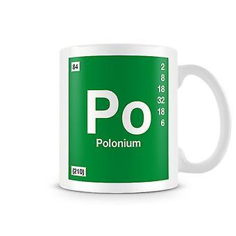 Научные печатные кружка, показывая элемент символ 084 Po - полоний