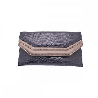 Sabrina Chic Blue Leather Envelope Style Clutch Bag