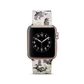 Klockrem silicone pour Apple Watch 4 40 mm, 3/2/1 38 mm-gris Camouflage