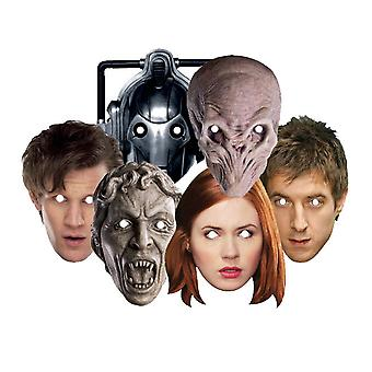 Doctor Who Party Card Fancy Dress Masks Set of 6 (Dr Who, Amy Pond, Rory, Silent, Weeping Angel and Cyberman)