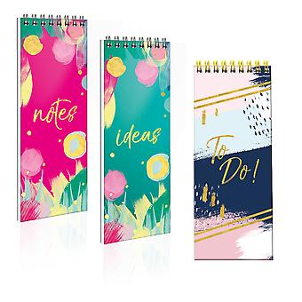 Brushstrokes Slim Spiral Bound Hardcover Lined Notepad Notebook Various Colours