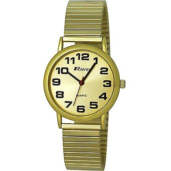Ravel Gents Goldtone Stainless Steel Soft Expandable Bracelet Strap Watch R0208.05.1