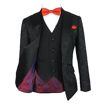 男の子ブラック ジャガード サテン結婚式スーツ