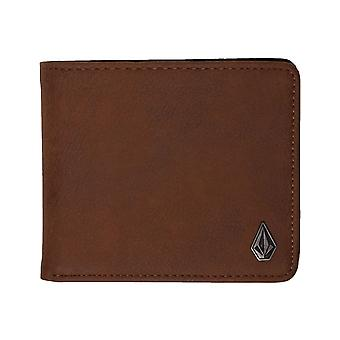 Volcom Slim Stone L Faux Leather Wallet in Brown
