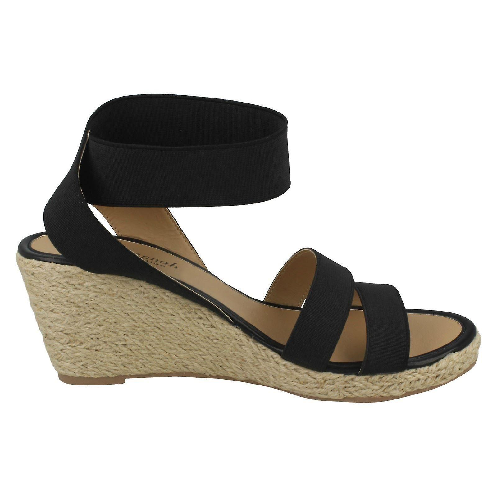 Ladies Savannah Elastic Ankle Strap Wedges