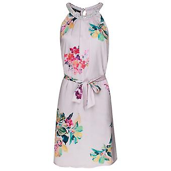 Marie Mero Choker Neck Sleeveless Floral Dress