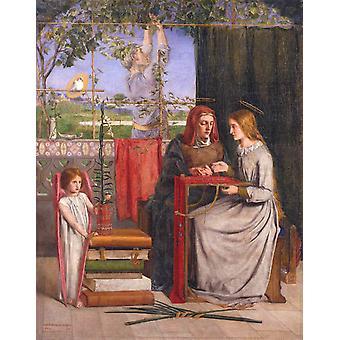 La infancia de María, Dante Gabriel Rossetti, 50x40cm