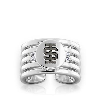 Idaho State University Engraved Sterling Silver Diamond Multiband Cuff Ring