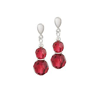 Eternal Collection Echo Scarlet Red Austrian Crystal Silver Tone Drop Clip On Earrings