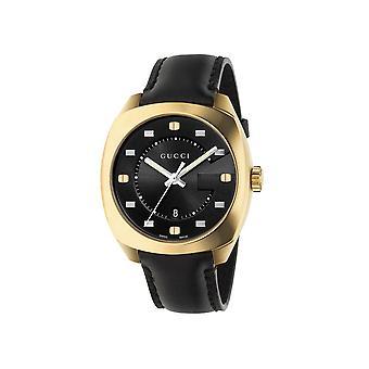 Gucci Ya142310 zwarte wijzerplaat zwart lederen band heren horloge