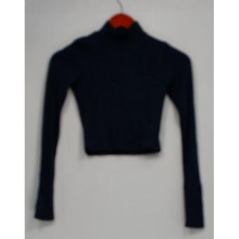 Soprano Top Long Sleeve Mock Neckline w/ Ribbed Knit Blue