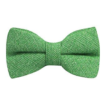 Garden Green Herringbone Bow Tie
