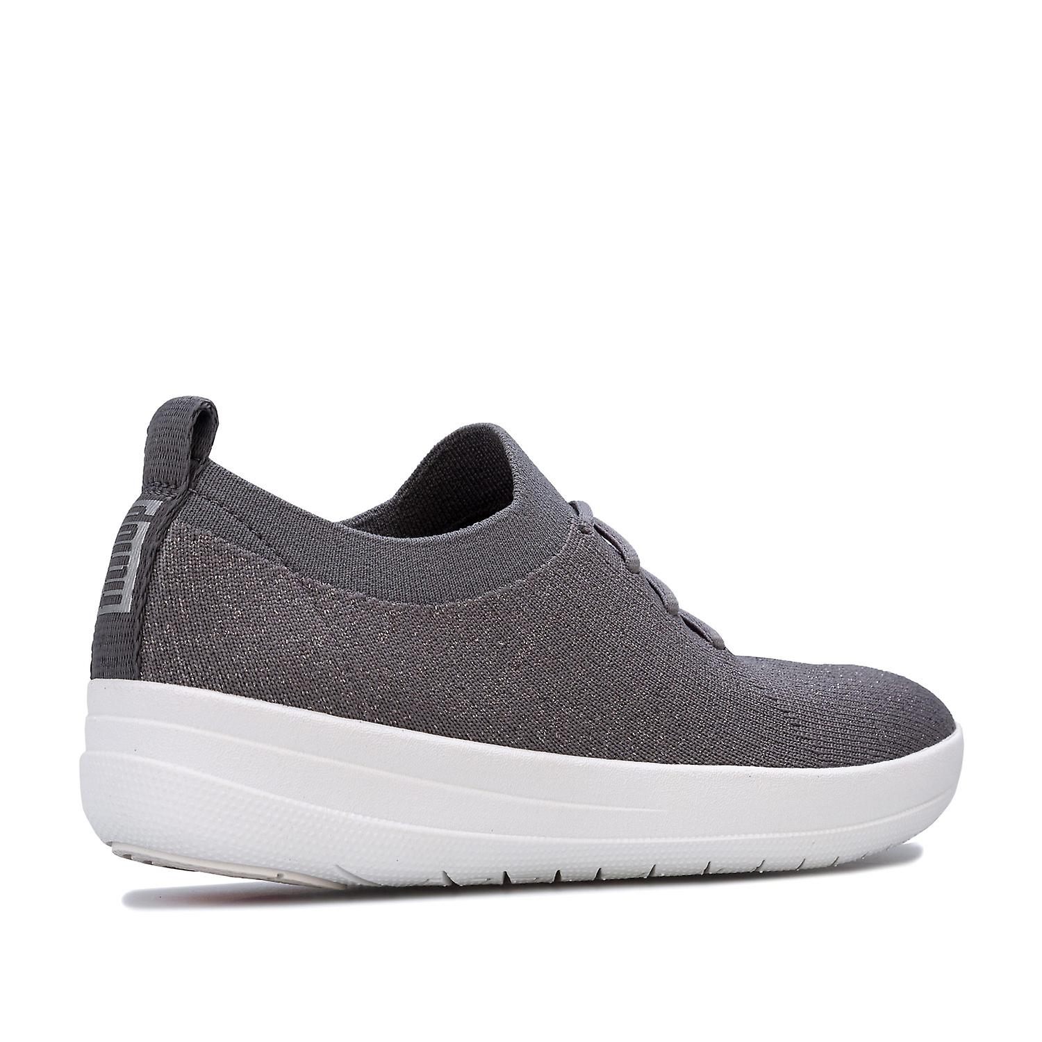 Womens FitFlop F Sporty Uberknit Trainers in charcoal metallic pewter.