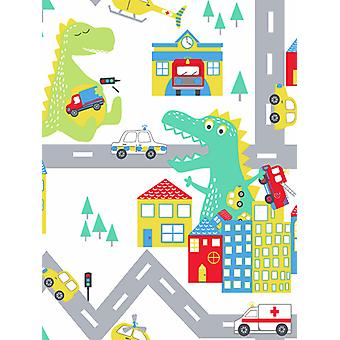 Over the Rainbow Dino Road Wallpaper White / Multi Holden 90910
