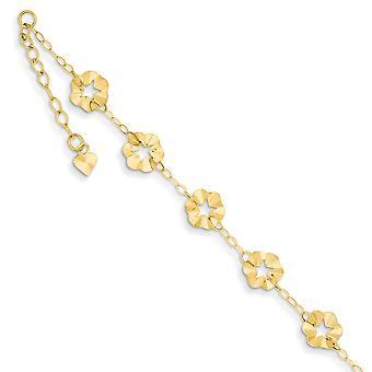 14Κ κίτρινο χρυσό στιλβωμένο άνοιξη δακτύλιο ρυθμιζόμενο λουλούδι αστράγαλος 9 ιντσών κοσμήματα δώρα για τις γυναίκες
