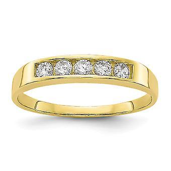 10k gult gull CZ cubic zirconia simulert diamant polert for gutter eller jenter Ring