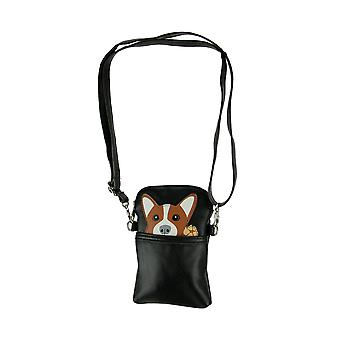 Black Pocket Peeking Corgi Dog Crossbody Purse Petit