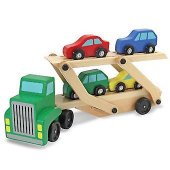 Melissa en Doug houten auto Transporter vrachtwagen en auto's Toy Set
