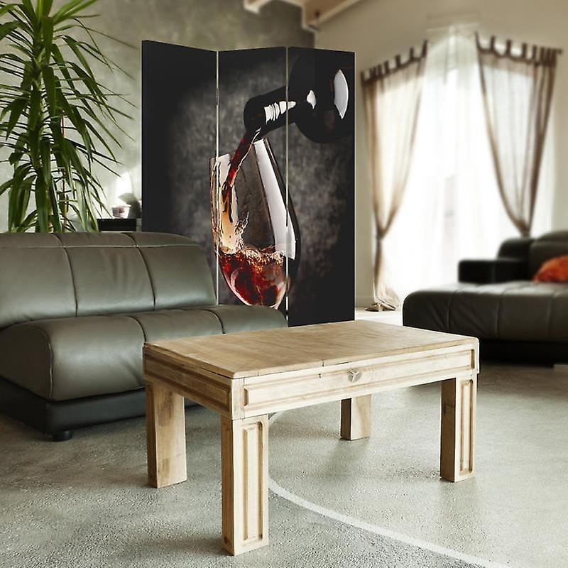 Diviseur de chambre, 3 panneaux, unilatéral, toile, vins rouges