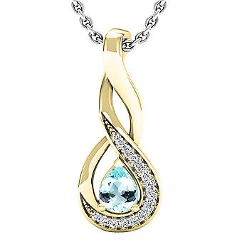 Dazzlingrock Collection 18K 5X4 MM Pear Aquamarine & Round Diamond Ladies Pendant (Silver Chain Included), Yellow Gold