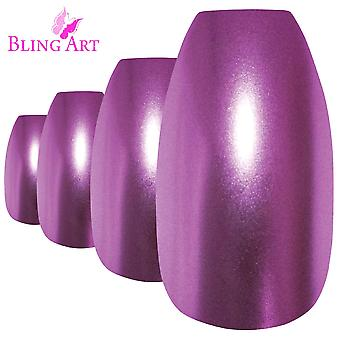 False nails by bling art purple matte metallic ballerina coffin fake long tips