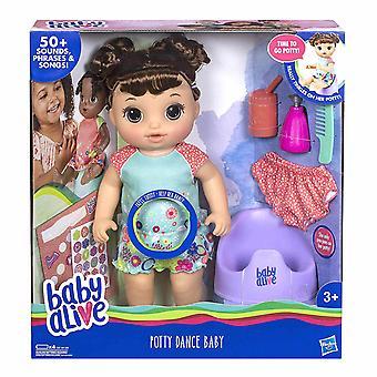 Baby Alive potty Dance baby brunette hår interaktiv dukke 35cm