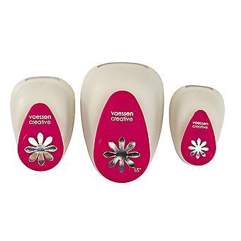 Vaessen Daisy Flower Craft Punch Set x 3 - 1.5cm 2.5cm and 3.75cm