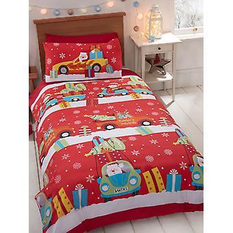 Entrega de Navidad Funda de edredón individual y set de funda de almohada