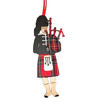 Highland Piper 3D Hanging Decoration Royal Stewart par Art Cuts
