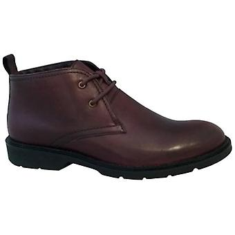 Roamers Stefan Mens Leather Lace Up Chukka Boots Oxblood
