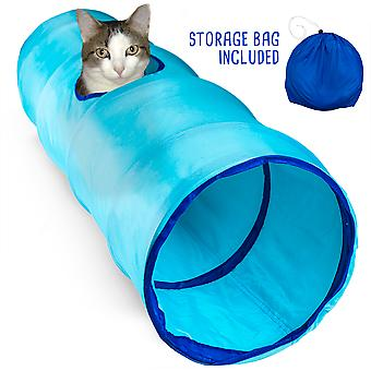 """36"""" Blue Krinkle Cat Tunnel with Peek Hole and Storage Bag"""