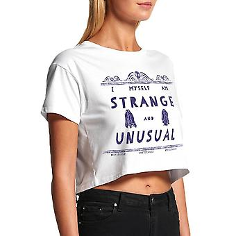 Women's Beetlejuice Strange and Unusual Cropped White T-Shirt
