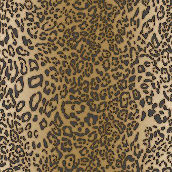 Leopard Skin Wallpaper Yellow / Gunmetal Muriva 168502