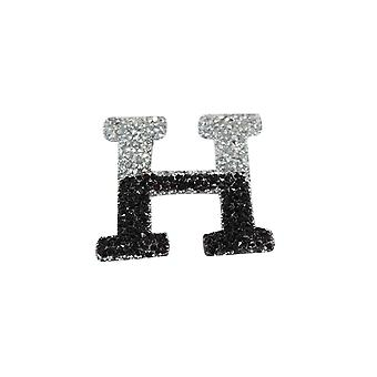 Black and Silver Double Glitter Alphabet Sticker - H