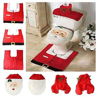 Santa Claus Decoration For Toilet Bathroom | Santa Toilet Seat Cover And Rug Set | Xmas Gift Set !