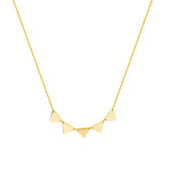 14k Yellow Gold Adjustable Triangle Connection Necklace (5 Triangle 18 Inch Jewelry Gifts for Women