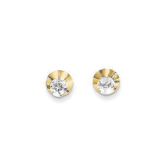 14k Gul Guld polerad CZ Cubic Zirconia Simulerad Diamond Circle Post Örhängen Smycken Gåvor för kvinnor