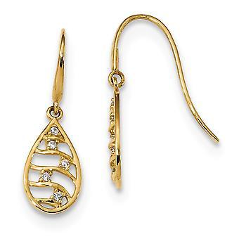 7.5mm 14k Madi K Teardrop CZ Cubic Zirconia Simulated Diamond Dangle Wire Earrings Jewelry Gifts for Women