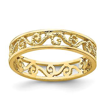 14k Gold Scroll Cut out Band Toe Ring [size 2] Beaded Jewelry Gifts for Women - 1.1 Grams