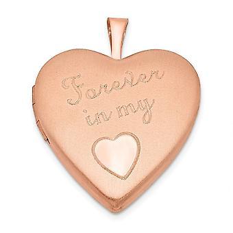 925 סטרלינג כסף מלוטש Engravable רוז 14k זהב מצופה 20mm לנצח בלב האהבה שלי תליון תליון שרשרת