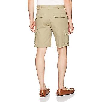 Haggar Uomini's Stretch Comfort Flat Front Short, Khaki, 38, Taglia 38