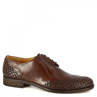 Leonardo Shoes Men's handmade oxford shoes in dark brown woven calf leather