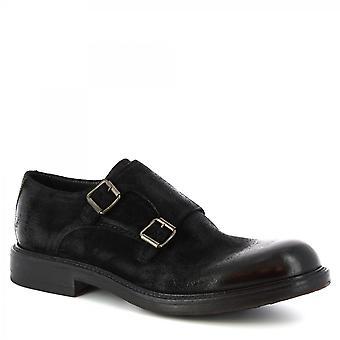 Leonardo Shoes Mężczyźni'ręcznie eleganckie podwójne buty mnichów z czarnej skóry zamszowej
