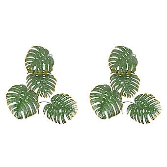 Set of 2 Green 17 Inch Metal Monstera Leaf Sculptures Wall Hanging Tropical Decor