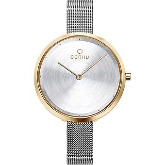 Obaku Dok Gold Bi Two Tone Women's Mesh Strap Wristwatch V227LXGIMC