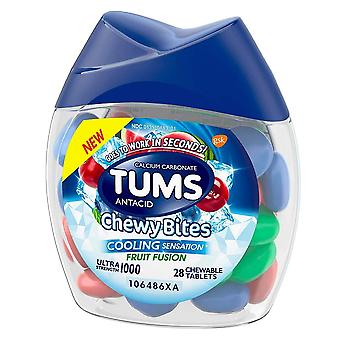 Tums ultra strength, chewy bits, cooling sensation, fruit fusion, 28 ea