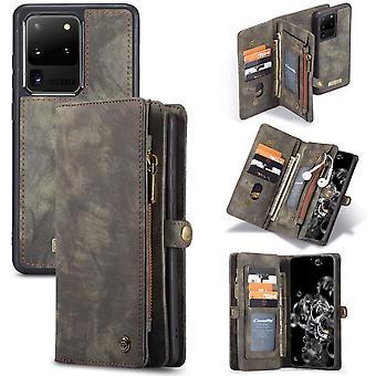 CASEME Samsung Galaxy S20 Ultra Retro Lederen Portemonnee Case - Grijs